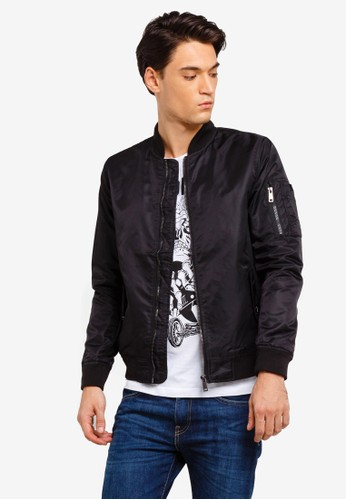 Brave Soul black Military Contrast Lined Bomber jacket CB4BCAA909E29AGS_1