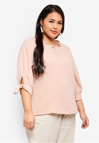 Ex'otico pink Plus Size 3/4 Sleeve Frilly Neck Blouse 402D1AA03BFD0AGS_1