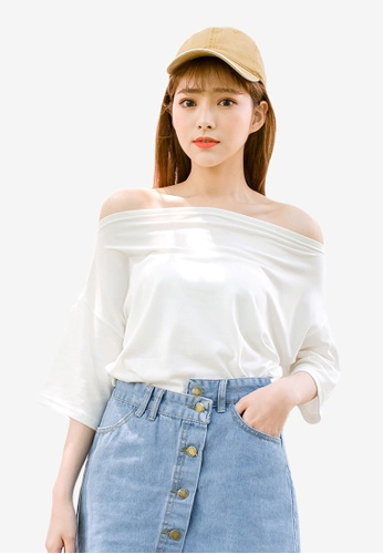 Tokichoi white Off Shoulder Basic Tee B7875AA2869CD7GS_1