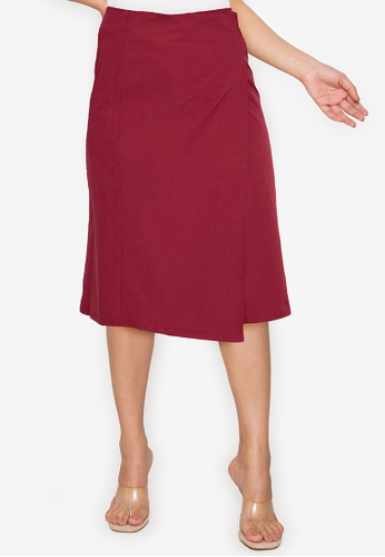 ZALORA WORK red Buckle Detail Pencil Skirt B76DCAAB94A336GS_1
