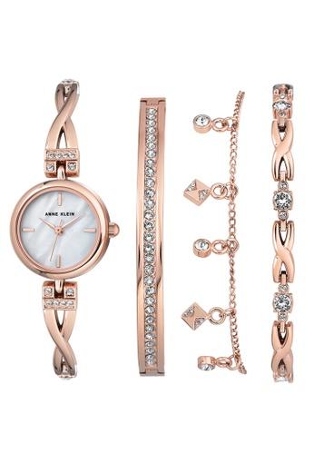 Anne Klein Women S Ak 3082rgst Swarovski Crystal Accented Rose Gold Tone Bangle Watch And Bracelet Set