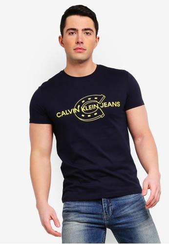 d9cb2d3842cd Calvin Klein navy Horseshoe Logo Slim Short Sleeve Tee - Calvin Klein Jeans  28D77AAA7A0247GS_1