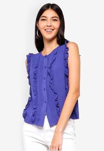 ZALORA 藍色 Ruffled Button Down Shirt 5BB9CAA7B311E3GS_1