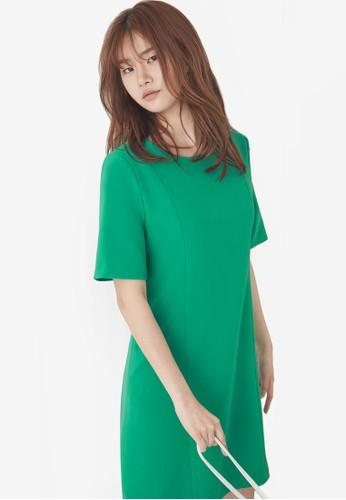 NAIN green Short Sleeved Flare Dress 0512FAA22C48D4GS_1