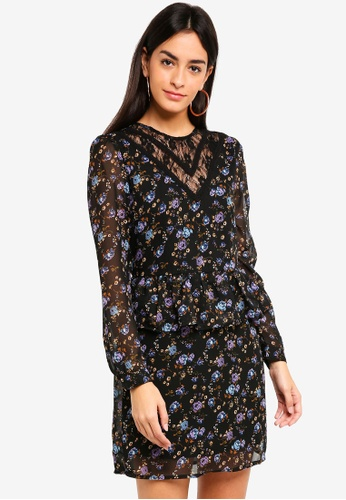 Vero Moda black and multi Rose Lace Long Sleeve Dress 0C0BBAA9520BE9GS_1