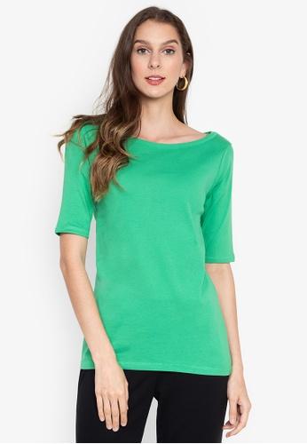 MARKS & SPENCER green Pure Cotton Slash Neck Half Sleeve T-Shirt 49790AA0551CDAGS_1