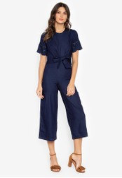 Kamiseta blue Freyna Short Sleeves Round Neck Jumpsuit With Fornt Knits F6533AA4A23291GS_1