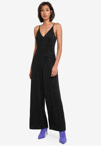 Miss Selfridge black Black Glitter Strappy Jumpsuit MI665AA0S7BWMY_1