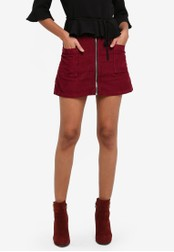 TOPSHOP red PETITE MOTO Cord Zip Skirt TO412AA0S7USMY_1
