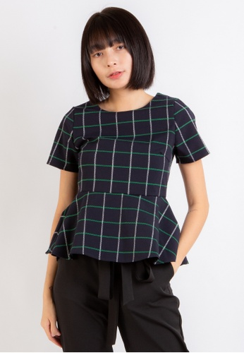 Love Knot navy Empathy Checkered Peplum Top (Navy) 68097AA80A3272GS_1