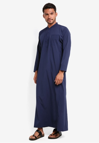Lubna black and blue Bomber Collar Jubah FA203AADEB12FAGS_1