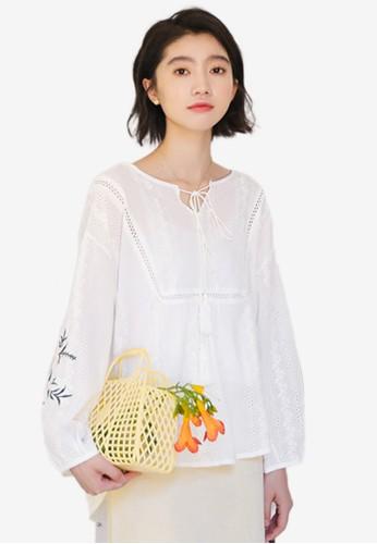 Shopsfashion white Embroidery Blouse CF580AA2B15A6FGS_1