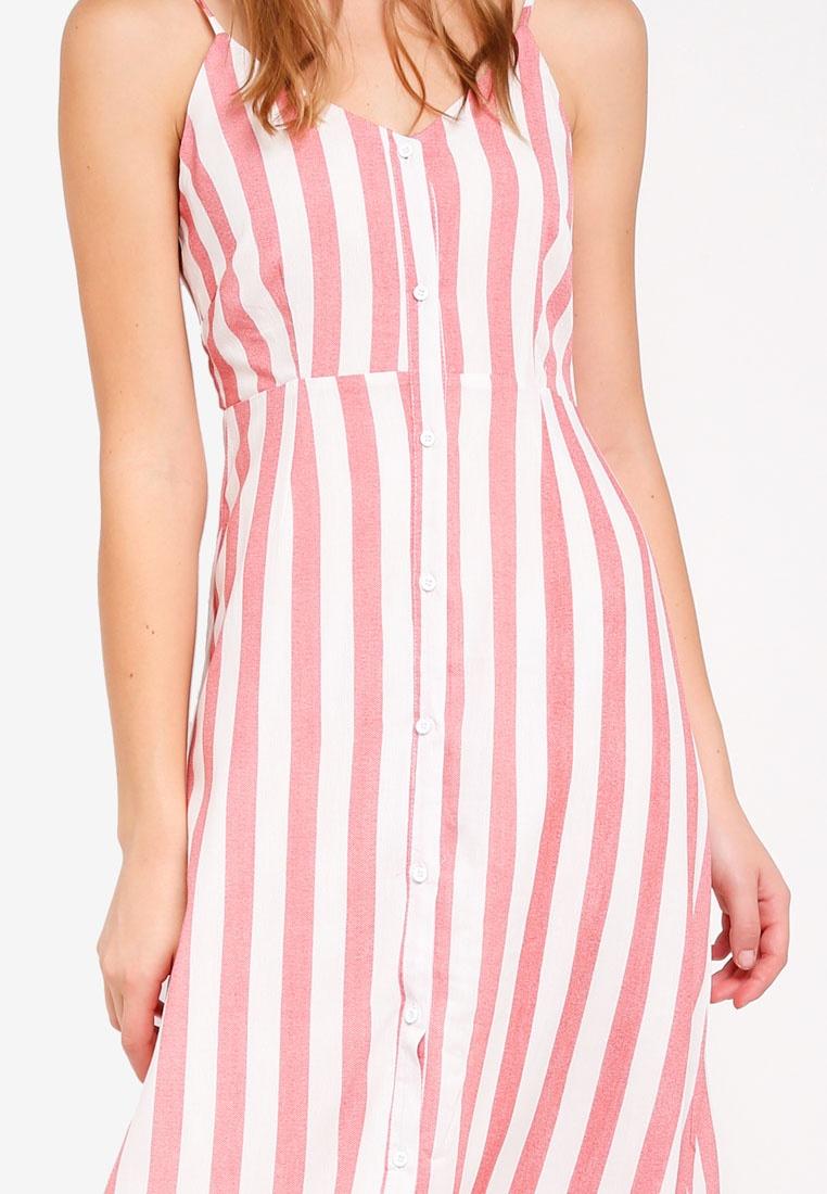 White Washed Stripe Red Stripe Glamorous Dress RBW1qcC