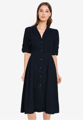 ZALORA WORK navy Button Down Pleat Detail Dress 65CD0AA5D78899GS_1