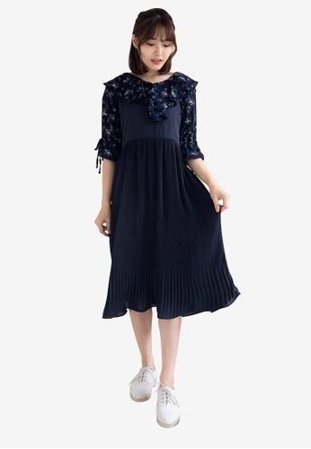 Tokichoi navy Pleated Slip Dress BB464AA0BA48EFGS_1