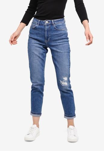 Dorothy Perkins 藍色 Mid Wash Rip Mom Jeans FA2ACAAF05A84FGS_1