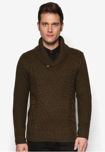 纜線zalora 評價針織卷領長袖衫, 服飾, 服飾