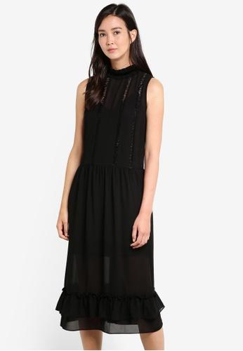 ZALORA black High Neck Ruffle Front Midi Dress AA566AAB8F9FD8GS_1