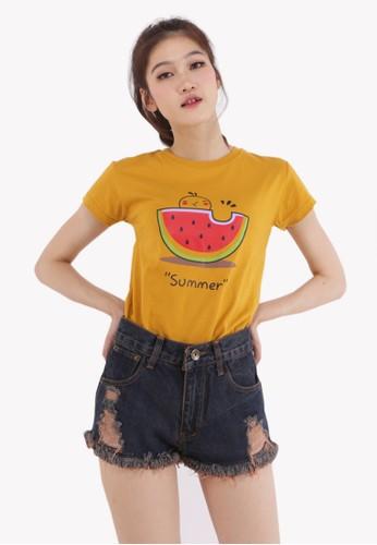 GatsuOne yellow Ozaki T-shirt 18BB3AA22B8B4AGS_1