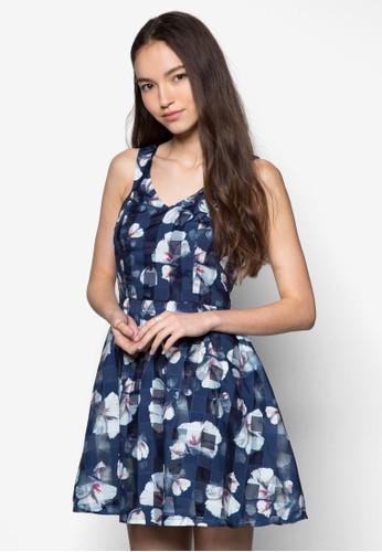 花卉圖案傘擺連身裙, 服飾, 夏esprit 台北日洋裝