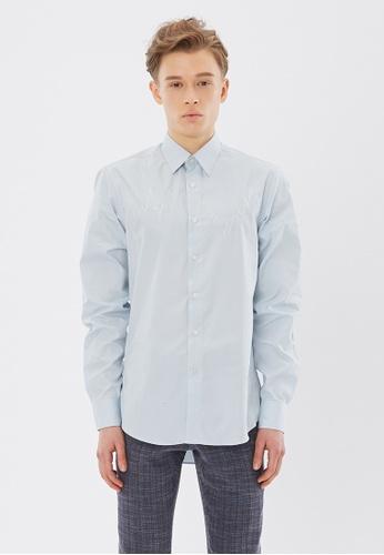 Flawless Flashbacks. Blue Signature Embroidered Shirt 316E1AA3767DAFGS_1