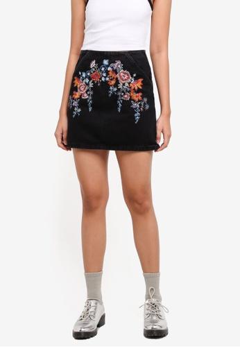 0749cf70a1 Buy TOPSHOP Moto Bright Floral Denim Aline Skirt | ZALORA HK