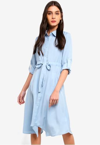 ZALORA blue Asymmetric Drawstring Shirt Dress B227AAA43A35A3GS_1