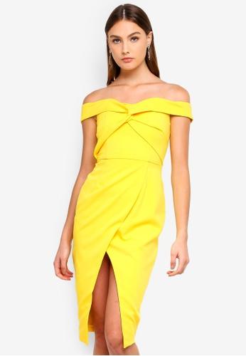 4184c836715eb Lavish Alice yellow Twisted Off The Shoulder Wrap Midi Dress  21DFAAA7C56EB2GS_1