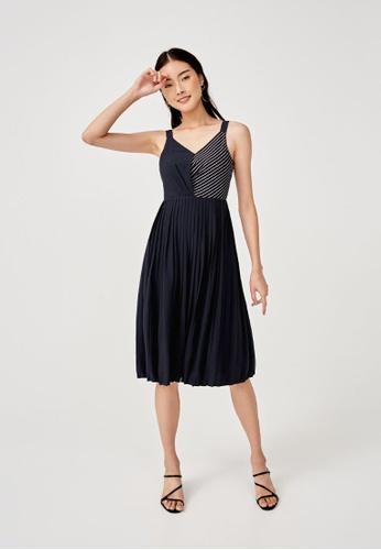 Love, Bonito blue Gemma Pleated Midi Dress 91643AA1473165GS_1