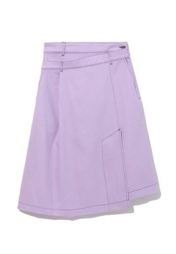 GREENISHPINK purple Asymmetrical wrap skirt. 11A78AA6E2BEADGS_1