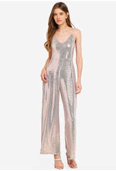 0ad88057012 Miss Selfridge brown Champagne Sequin Culotte Jumpsuit 0F6BDAA2F0C3AAGS 1