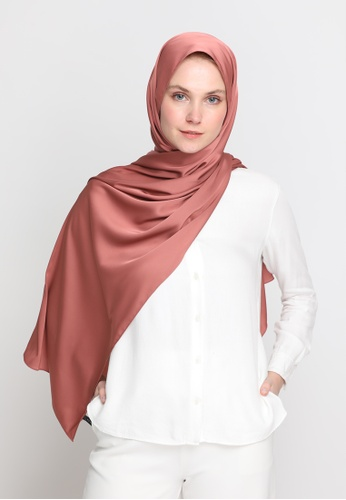 VELRIA pink and orange and brown TIARA Plain Soft Satin Shawl in Dusty Cedar 8D0AFAA440A177GS_1