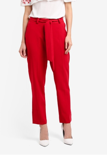 Dorothy Perkins red Tie Ankle Grazer Trousers DO816AA0SRDFMY_1