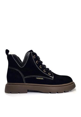 Twenty Eight Shoes 黑色 VANSA 型格磨沙牛皮馬丁靴 VSW-B301 7DFB7SH6E85FC6GS_1