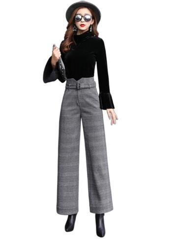LYCKA grey LSE4909European Style  Spring-Summer Lady High Waist Wide Leg Pants -Grey 70039AAD95BE83GS_1