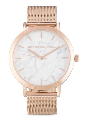 Whitehaven 43mm 圓框大理石印花網眼帶手錶, 錶類, 飾品zalora 包包 ptt配件