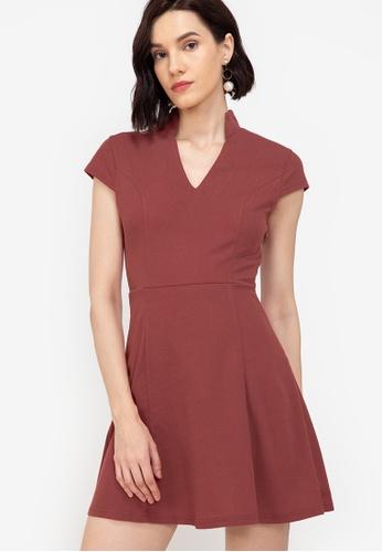 ZALORA WORK pink Notch Neck Cap Sleeve Dress 883ECAAC746C91GS_1