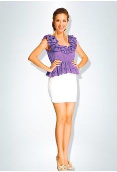 Devidasi Purple Structured Ruffle Peplum Top