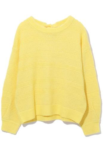 b+ab yellow Waffle knit sweater F8B85AA73A3512GS_1