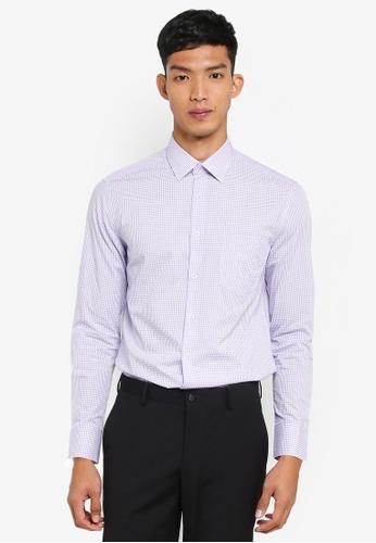 G2000 purple Checked Long Sleeve Shirt 63590AA087F786GS_1
