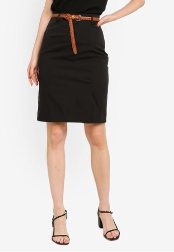ZALORA WORK 黑色 Tailored 裙 With 腰帶 347E1AAEAD8E39GS_1