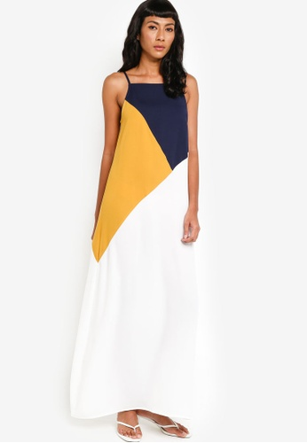 Color Block Mustard Blue Smoked Waist Jersey Maxi Dress