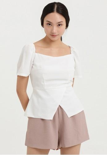 Cloth Inc white Calla Peplum Blouse in White AEDBAAAE1DF436GS_1