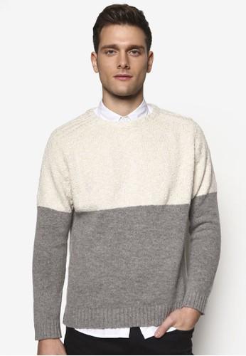 撞色拼貼圓領針織長袖衫, 服飾esprit outlet 台灣, 毛線衣
