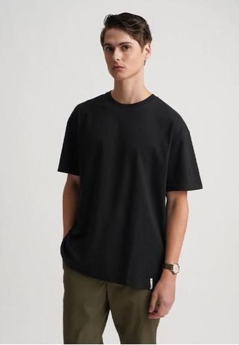 Penshoppe black Dress Code Relaxed Textured Tee F8510AA5BD6FCFGS_1