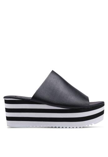Nose 黑色 條紋楔型拖鞋 D38C1SH1DBB54BGS_1