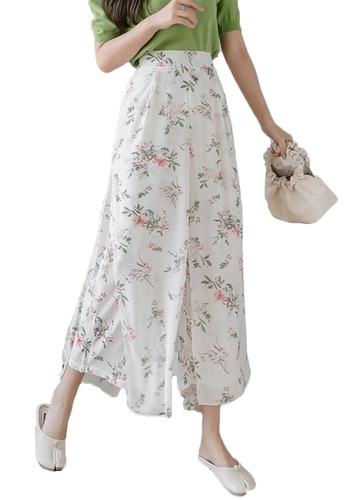 Halo beige Floral Printed Wide Leg Cropped Pants D2ECCAA9AAD032GS_1