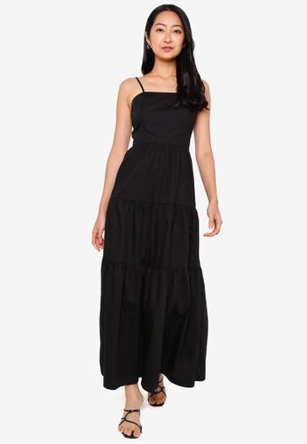 ZALORA BASICS black Square Neck Cami Tiered Dress 24F37AA5617D86GS_1