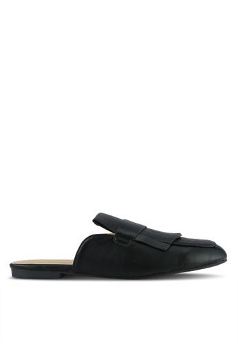Something Borrowed black Fringed Loafer Sliders 878E8SH81FB217GS_1