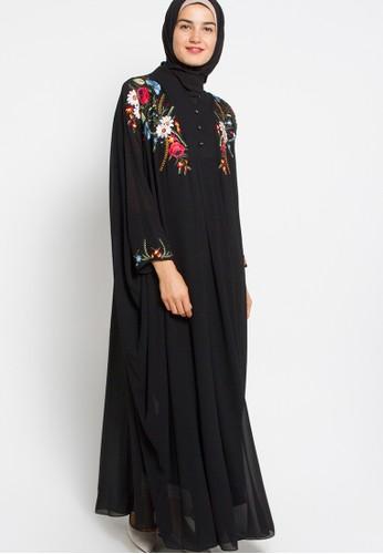 Kamilaa by Itang Yunasz black Gamis Bordir KA273AA05FQWID_1